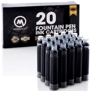 Vivid Black Ink Cartridges for Fountain Pens. Amazing Big Pack of 20 International, Standard Size Cartridges. Perfect for Calligraphy Pen. Universal, Fine Design with Incredible Long Lasting Shade!