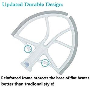 Flat Beater with Flex Edge Bowl Scraper Flat Blade for KitchenAid 6-Quart Bowl Lift Mixer …