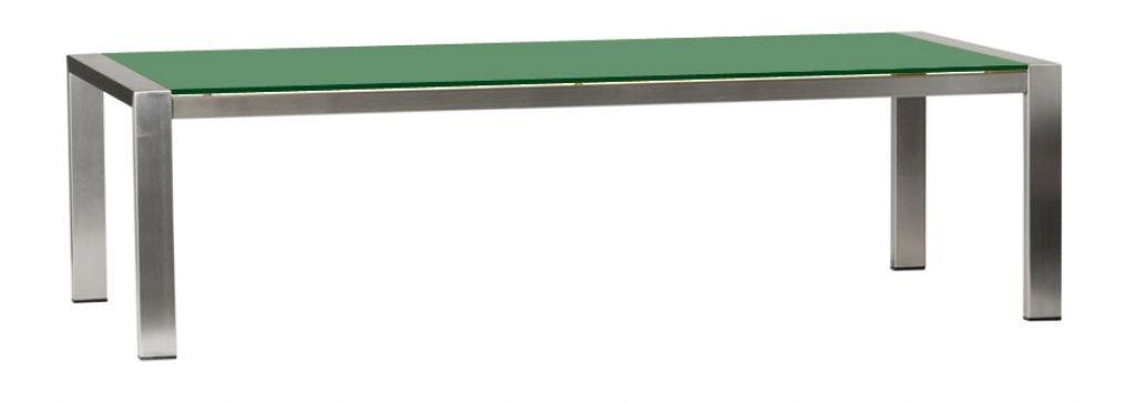 Bony Design Couchtisch Edelstahl Glas Grün - 36 × 130 × 80