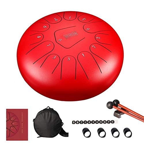 Intenst 13-Note Steel Tongue Drum Percussion Instrument Lotus Hand Pan Drum with 1 Pair of Mallets for Music Education Mind Healing Yoga Meditation Fashion