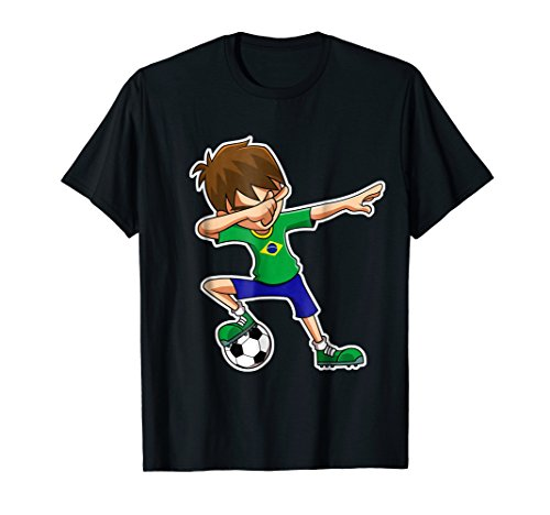 Dabbing Soccer Boy Brazil Shirt, Brazilian Flag Jersey