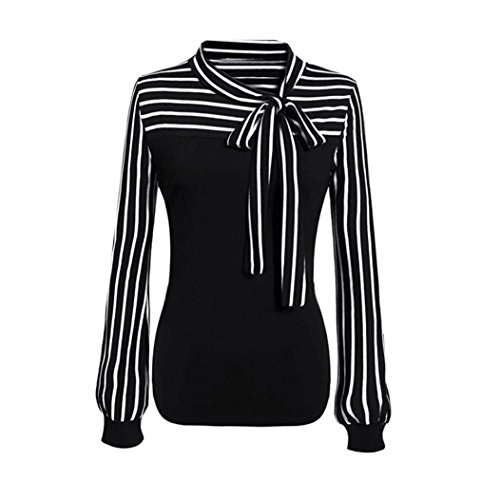 DongDong Ladies Casual Blouse Tie-Bow Neck Striped Long Sleeve Splicing Shirt