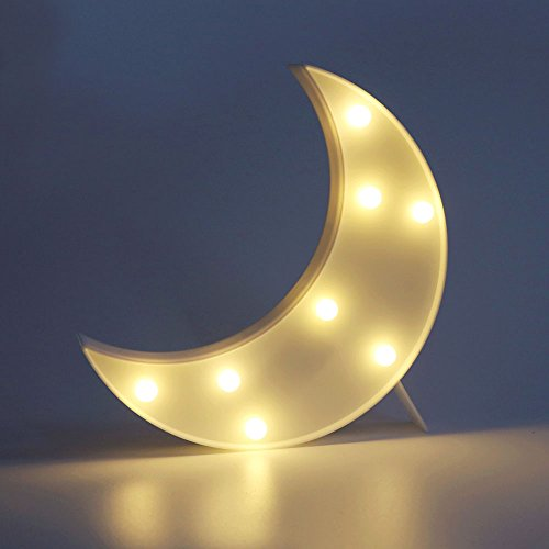 DELICORE Decorative LED Crescent Moon Marquee Sign - MOON Marquee Letters LED Lights - Nursery Night Lamp GIFT for Children (White) (Decorative Letters For Mantle)