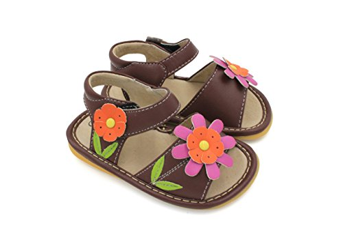 Picture of Little Mae's Boutique Brown with Pink Flower Squeaky Girl Sandals Shoes