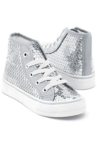 Balera Sequin High Top Dance Sneakers Silver 3AM
