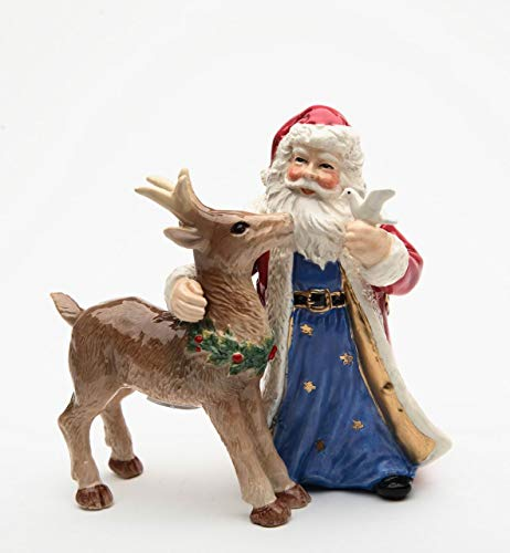 Fine Ceramic Hand Painted Christmas Holidays Santa with Deer and Dove Salt & Pepper Shakers Set, 4-3/4