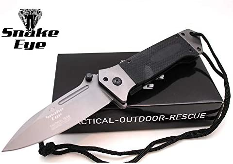 Snake Eye Tactical Action Assisted Knife G-10 Handle 8Cr13MoV Razor Sharp Blade – Every Day Carry – Includes Landyard and Heavy Duty Sheath. Bundle 2 Items 1 Knife and 1 Sheath Black