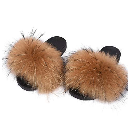 LSWJS Open Toe Raccoon Fur Slippers Women Slides Flat Shoes (8, Natural)