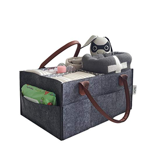 Tik Tak Design Co Large Baby Diaper Caddy – Portable Mid Gray Travel Caddie – Kids Toy Organizer Tote Bag for Boys or Girls – Adjustable Inserts for Personalized Storage – Newborn Shower Gift Registry