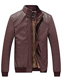 WenVen Men's Winter Fashion Faux Leather Jackets