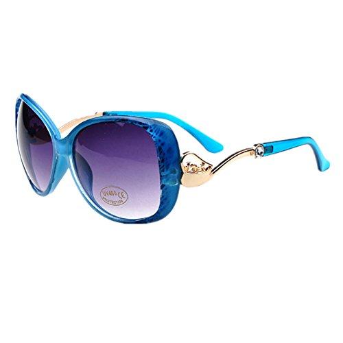 HUASHI Women's Big Box Frog Mirror Sunglasses Metal Small Horse Cart Sunglasses High Temperament Color Bule