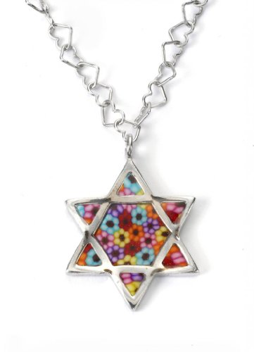 925 Sterling Silver Star of David Necklace Jewish Pendant Handmade Multi-Colored Polymer Clay, 16.5'' by Adina Plastelina Handmade Jewelry
