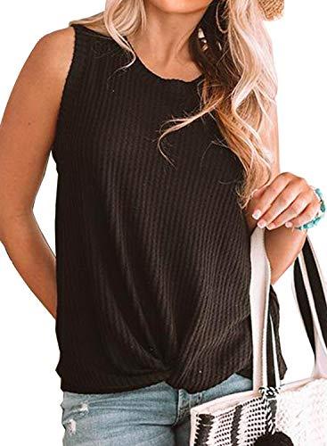 MIHOLL Womens Casual Tops Sleeveless Cute Twist Knot Waffle Knit Shirts Tank Tops (XX-Large, ()