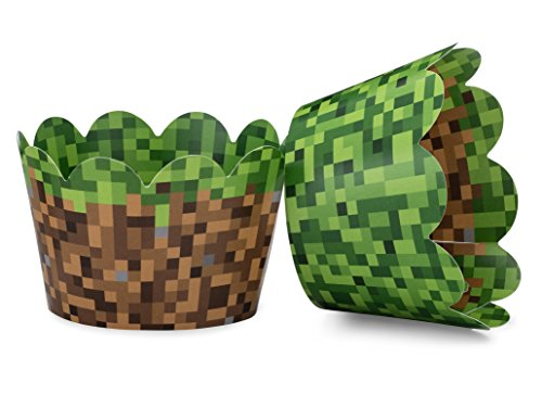Miner Themed Pixel Grass Cupcake Wrappers for Boys Birthday Parties, Vintage 8-Bit Birthday Party. Set of 24 Reversible Engineer Grass and Green Pixel Cup Cake Holder Wraps. Green, Brown, Gray]()