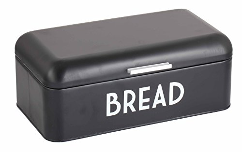 Home Basics Metal Bread Box with Lid (Black) by Home Basics