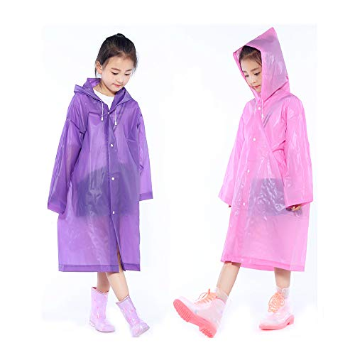 - 2 Packs Kids Rain Ponchos, Portable Reusable Emergency Raincoat for 6-12 Years Old Boys Girls, Children Rain Wear for Outdoor Activities - PurpleΠnk