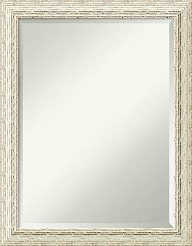 Framed Vanity Mirror | Bathroom Mirrors for Wall | Cape Cod White Wash Mirror Frame | Solid Wood Mirror | Medium Mirror | 27.38 x 21.38
