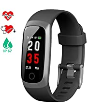iposible Fitness Tracker, Heart Rate Activity Tracker Blood Pressure Pedometer Smart Watch Waterproof IP67 Fitness Watch Sleep Monitor Smart Bracelet with Stopwatch(24 Months Warranty)