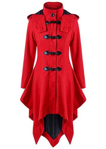 Nihsatin Women's Classic Horns Buttons Winter Warm Casual Hooded Trench Fleece Coat Overcoat Red -