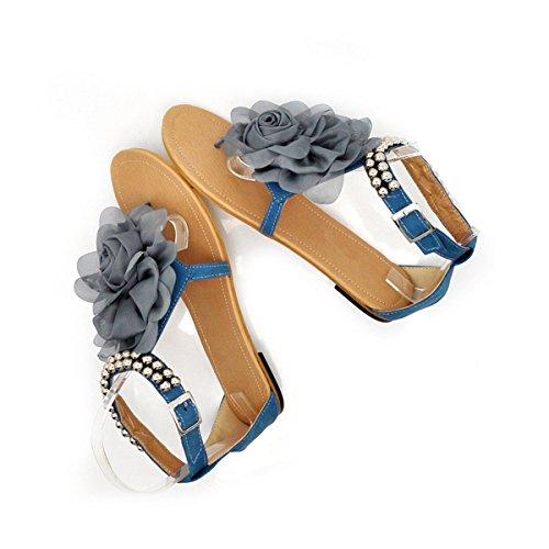 LOBTY Damen Römersandalen Bohemia Flach Sandalen Zehentrenner Damen T-Strap Sandalen Schuhe Gladiator Flip Flops Gr.31-43 Clogs Classic Pantoffeln Damen Sommer Schuhe Hausschuhe Gr.36-40 Blau