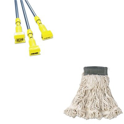 KITRCPA152WHIRCPH246GY - Value Kit - Rubbermaid-Gray Gripper Wet Mop Handle (RCPH246GY) and Rubbermaid-White Compact Web Foot Wet Mop Heads 5quot; Headband (RCPA152WHI) (Compact Mop Foot Wet Web)