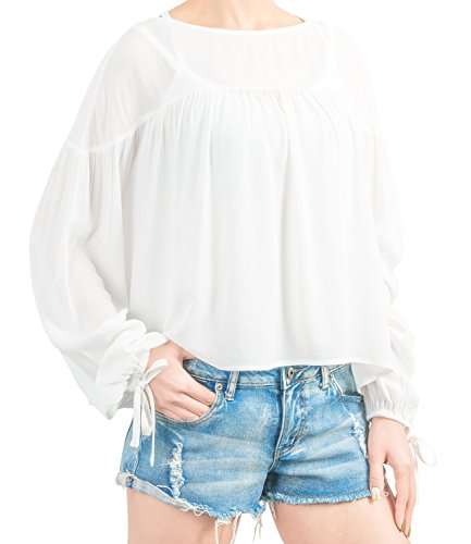 ililily Women Loose Fit Gathered Chiffon Blouse Boho Ruffle Bohemian Top , White, US-X-Large (Hippie Dress Up)
