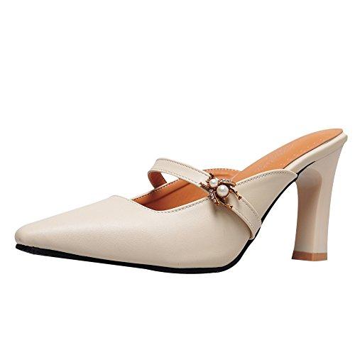 - Charm Foot Women's Vintage Mini Square Toe High Heel Mules Shoes (10.5, Beige)
