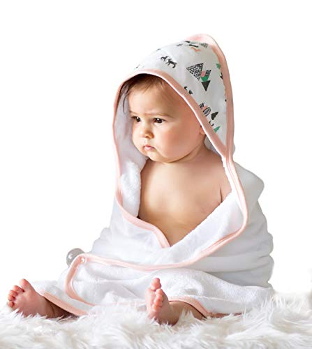 Baby Girl Hooded Towel Set | Extra Soft Organic & Hypoallergenic Bamboo | 2X Softer & 40% More Absorbent Than Cotton | Perfect Bath Towel with Hood & washcloth Gift for Newborn Infants to Toddlers