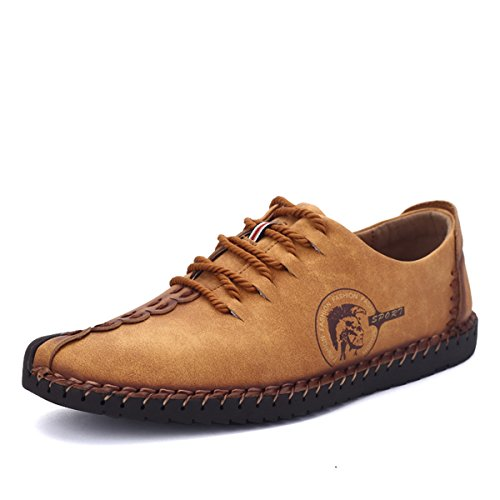 Suede Casual Shoes, Tezoo Men's British Style Handmade Classic Leather Oxford Flats Shoes, Casual Shoes, Lace-up Loafers, Flats Sneakers (9 US, Yellow…