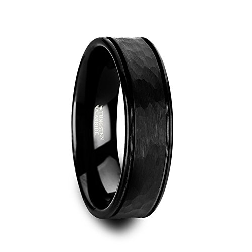 JOINER Hammered Finish Center Black Tungsten Carbide Wedding Band with Dual Offset Grooves and Polished Edges - 8mm ()