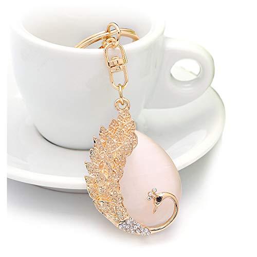 QTKJ Crystal Opal Peacock Keychain Bird Animal Lovers Rhinestone Key Ring Charm Handbags Purse Bag Car Pendant Decoration Gift (Gold) Bird Key Ring Keychain