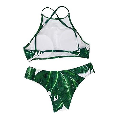 fd052ea1ce Zando Women Cute Tropical Leaves Printing Padding Bikini Set Tank Top High  Neck 2 Piece Swimsuit