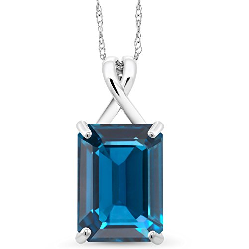 Gem Stone King 8.50 Ct Emerald Cut London Blue Topaz 10K White Gold Pendant With Chain