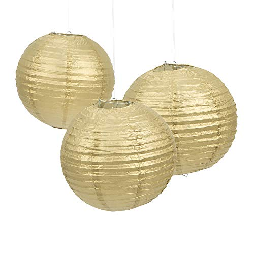 Fun Express - Gold Paper Lanterns (6pc) for Party - Party Decor - Hanging Decor - Lanterns - Party - 6 Pieces