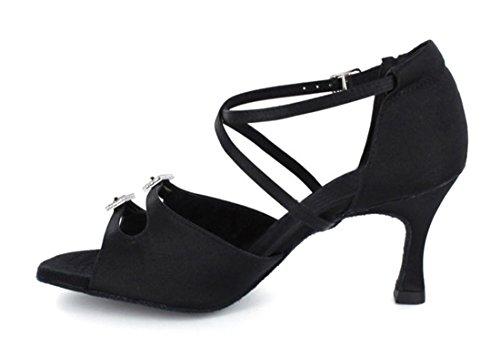 Dance Ankle Strap M Tango Black Shoes Modern Ballroom TDA 9 US 5 Salsa Wedding Crystals Satin Latin Women's EaqWWnP5w