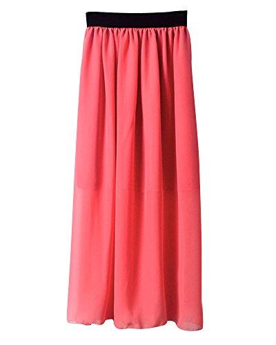 Jupe Mousseline Plissé Taille Mesdames Rouge Femmes Élastique Midi De Élégant Soie En Longue Pastèque Casual HI7x57qz