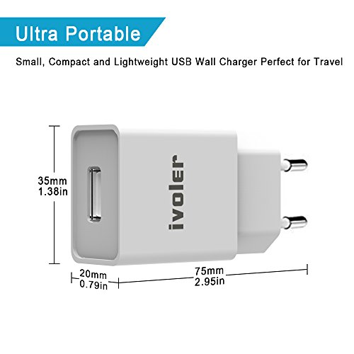 ivoler Mini Cargador (12W/2.4A) y Carga Datos Cable USB (2m ...