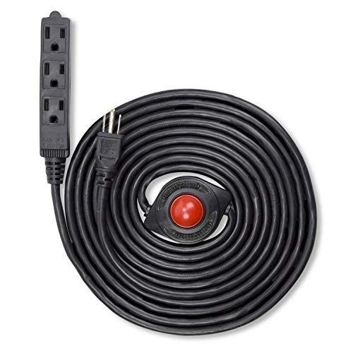 NEW! Electes 15 Feet 3 Grounded Outlets Extension Cord with Foot Switch and Light Indicator, 16/3, Black - UL Listed ()