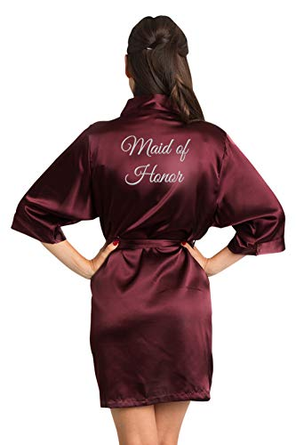 Zynotti Women's Silver Thread Embroidered Maid of Honor Getting Ready Bridal Party Wedding Kinomo Wine Burgundy Satin Robe, S/M (2-12)]()