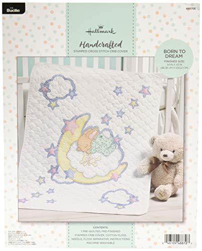 Bucilla 48870E Stamped Cross Stitch Baby Crib Cover, Born to Dream