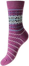 Womens Betty Snowflake Cashmere Luxury Socks Damson Pink