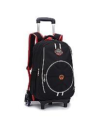 "HIGOGOGO Nylon Rolling Backpack, Size:19""*12""*7""(H*W*T), Trolley:35"", 3D Basktball Design Boys Girls School Backpack With 6 Wheels Black"