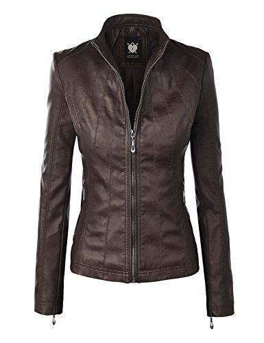 Lock and Love LL WJC877L Womens Panelled Faux Leather Moto Jacket M Coffee