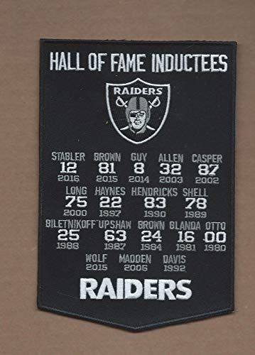 Embroidery Patch Oakland Raiders Hall of Fame Banner 4 3/4 X 7 INCH