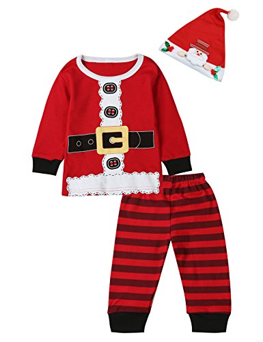 3PCS Baby Boys Girls Christmas Santa Claus Costume Pajama Outfit Clothes Set (Red, 12-18 -