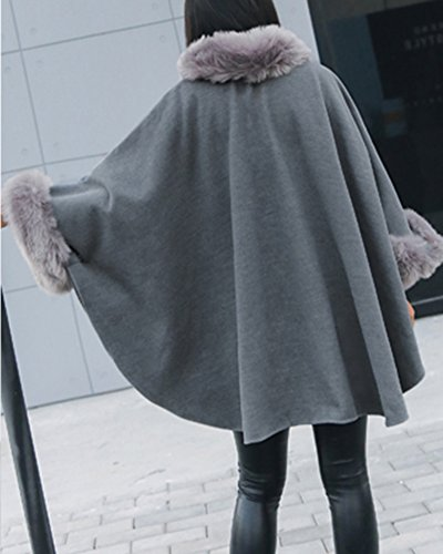 Manto Capa Mujer De Abrigo Sólido Color Alto De Para Elegante Gris Cuello OwwzqSC