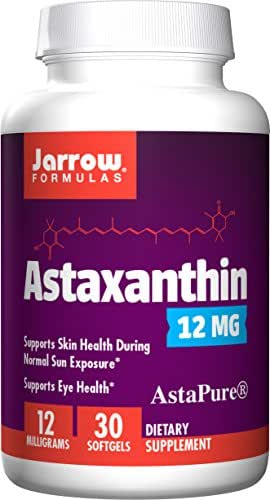 Jarrow Formulas Astaxanthin, A Natural Antioxidant Carotenoid Supports The Skin, Eyes & Immune Health*, 12 mg, 30 Softgels