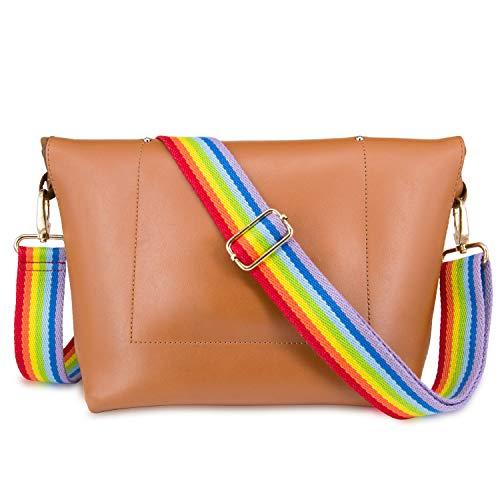 Wolven Adjustable Purse Strap Replacement Crossbody Shoulder Strap For Handbag Laptop Bag Etc - Rainbow]()