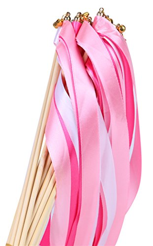 30pcs Ribbon Wands Party Streamers for Wedding Party Activities (Pink) -