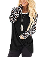 onlypuff Women's Long Sleeve Shirts Casual Side Twist Knotted Tunic Tops